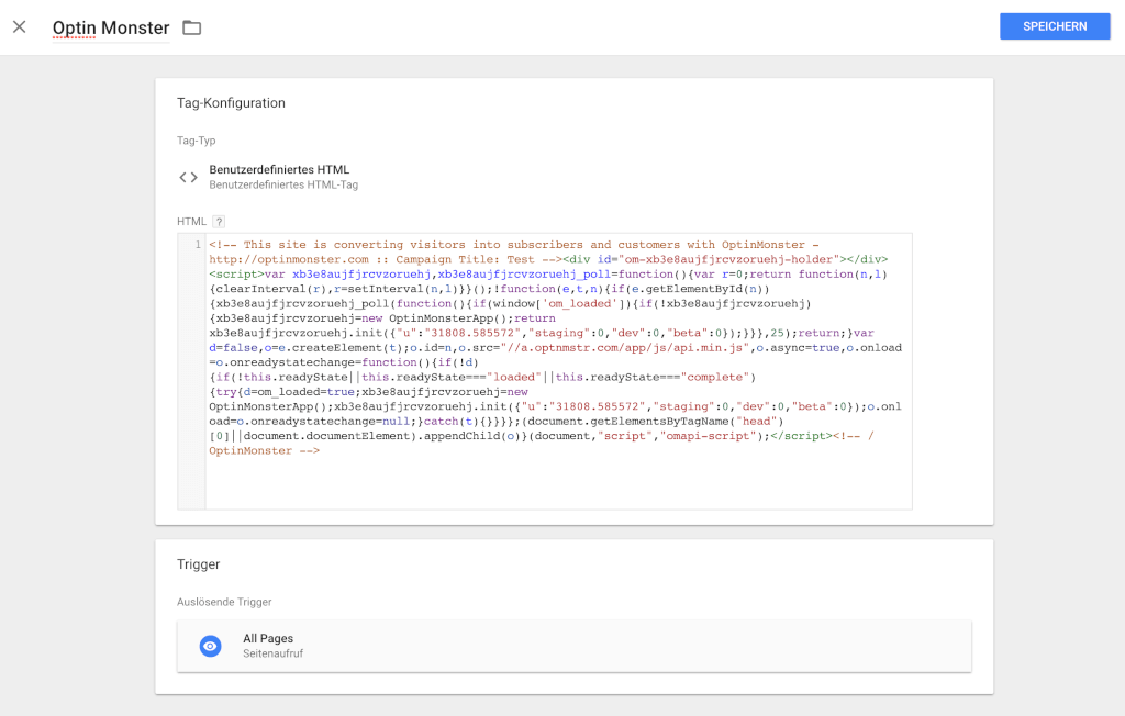 Optin Monster Code in Tag Manager anlegen