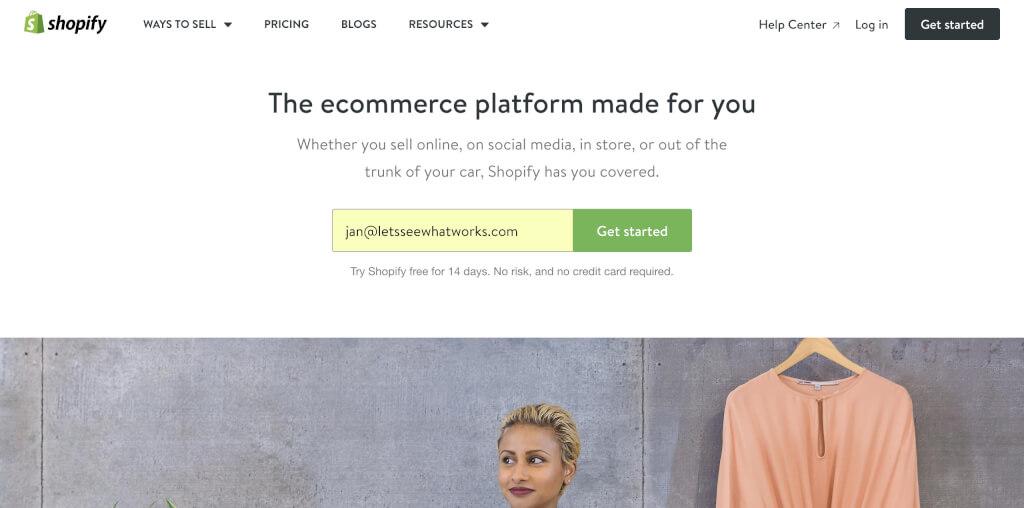 Shopify Einrichtung Anmeldung Email Adresse
