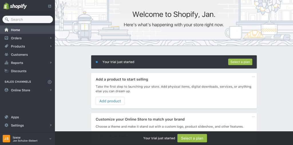 Shopify Einrichtung Dashboard