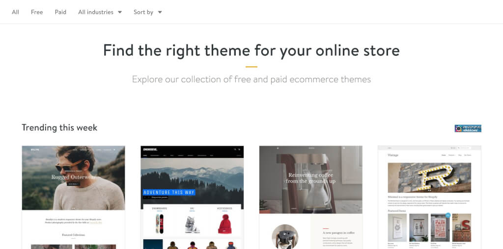 Shopify Theme Store Auswahl