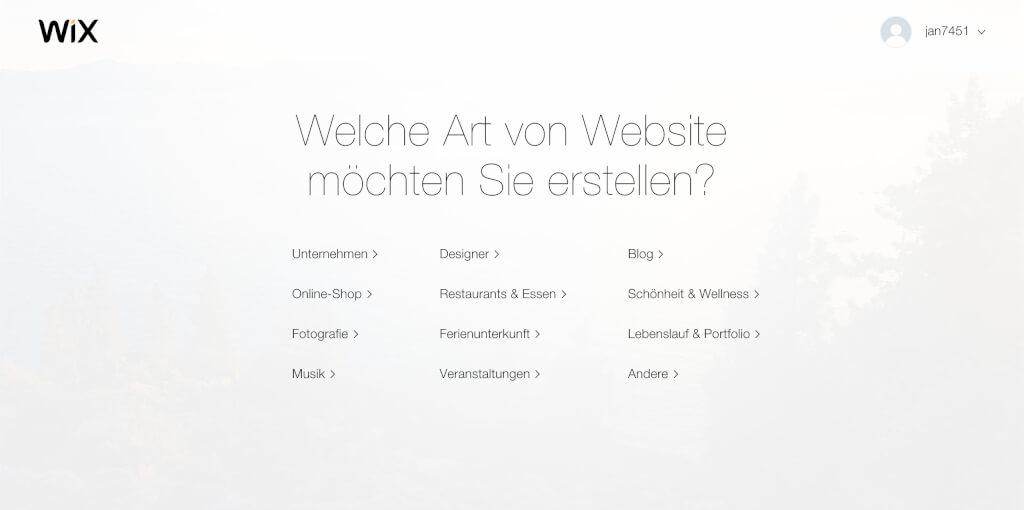 Wix Homepage Branche auswa  hlen