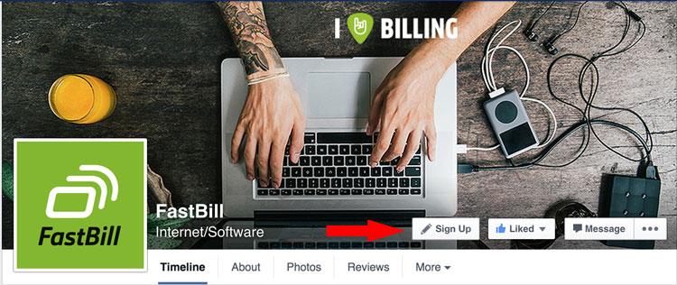 Der CTA-Button auf der FastBill Facebook Page