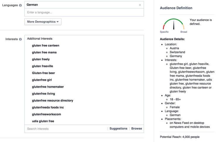"Targeting bei Facebook bei ""Glutenfreie Lebensmittel"""