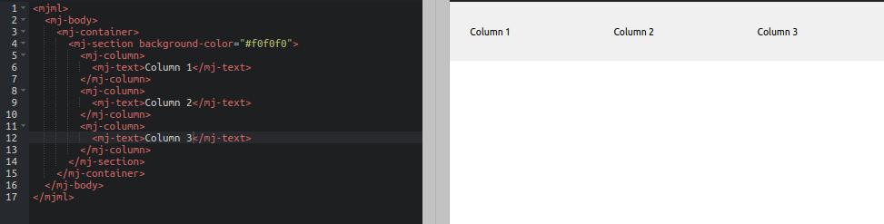 mjml 3 spalten layout