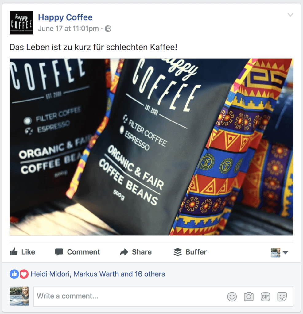 happy coffee facebook werbeanzeige