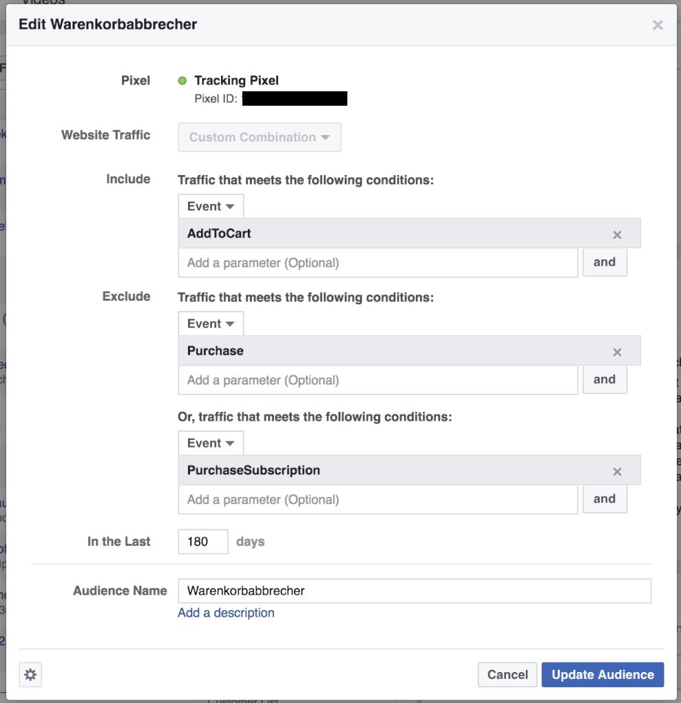 Einstellungen Facebook Custom Audience Warenkorbabbrecher