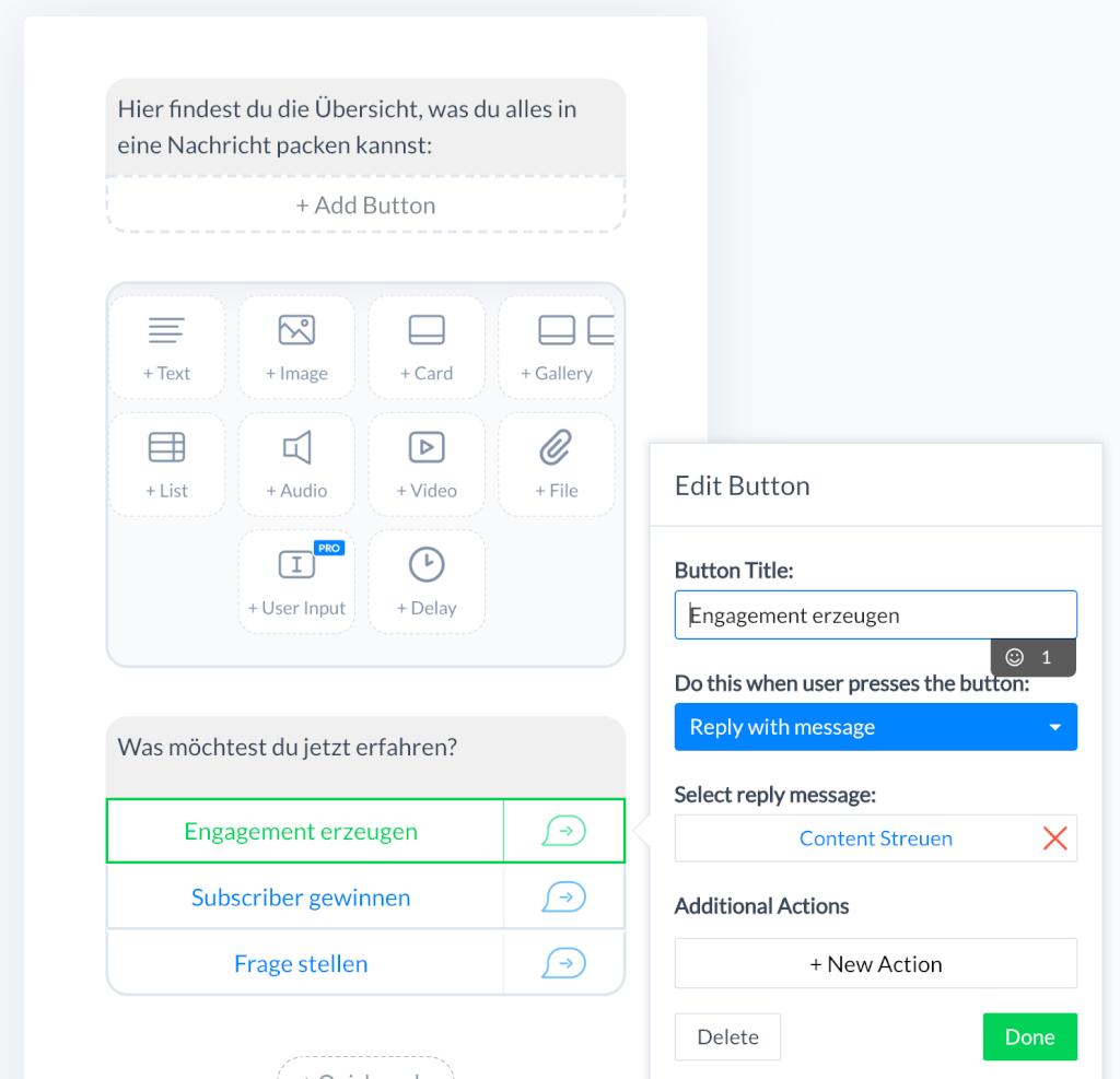 Elemente einer Nachricht Chatbot