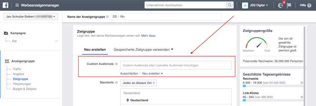 Facebook Audience im Werbeanzeigenmanager auswa  hlen