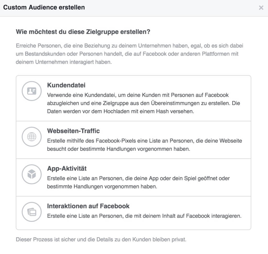 Facebook Custom Audience Custom Audience erstellen