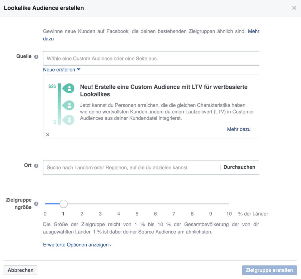 Facebook Custom Audience Lookalike erstellen