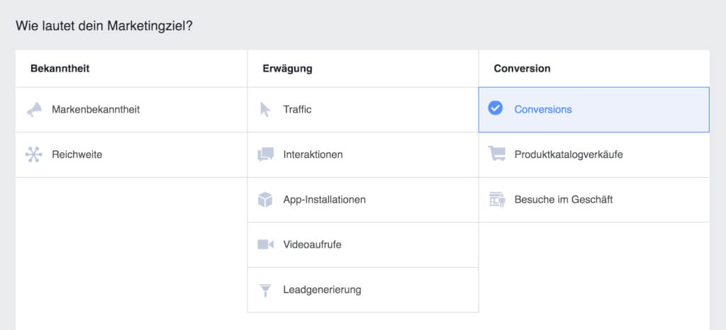 Facebook Marketingziel Kampagne