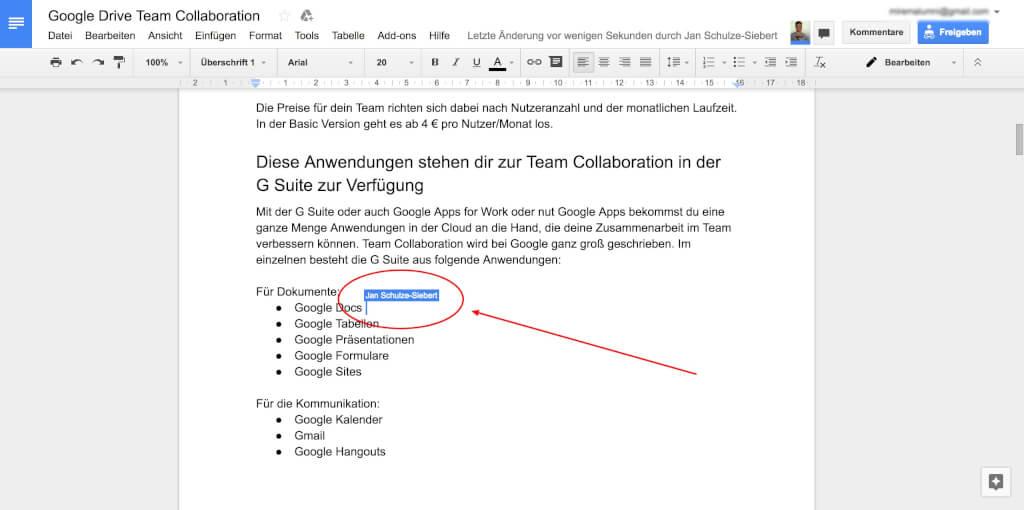 Google Drive Team Collaboration Cursor Platzierung