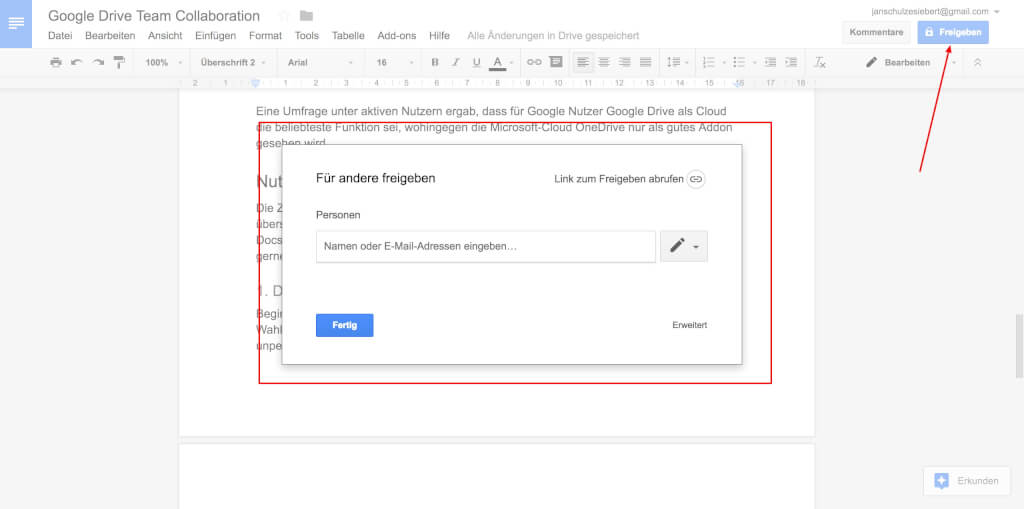 Google Drive Team Collaboration Freigeben