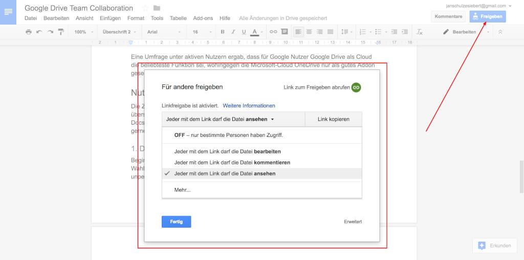 Google Drive Team Collaboration Freigeben 2