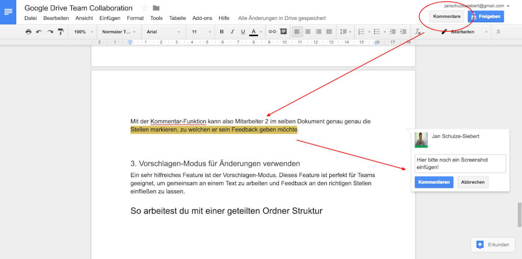 Google Drive Team Collaboration Kommentare