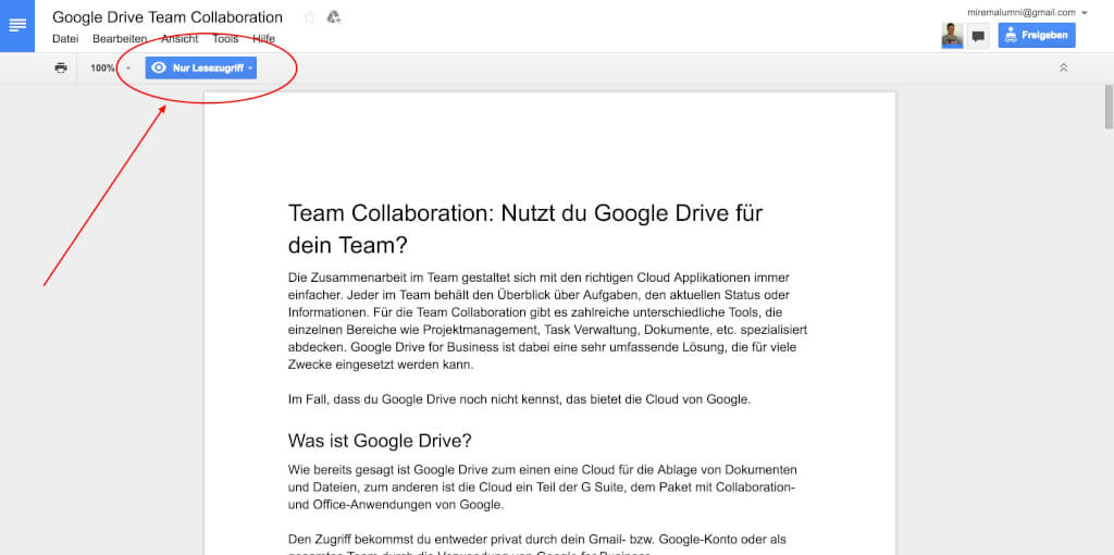 Google Drive Team Collaboration Lesezugriff
