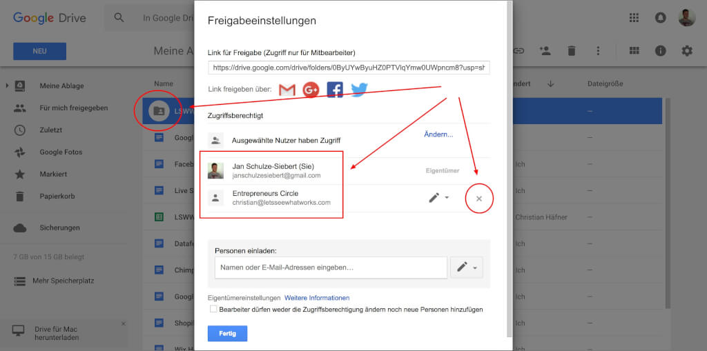Google Drive Team Collaboration Ordner freigeben