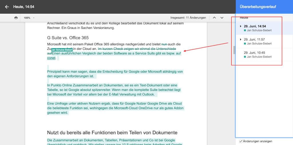 Google Drive Team Collaboration U  berarbeitungsverlauf
