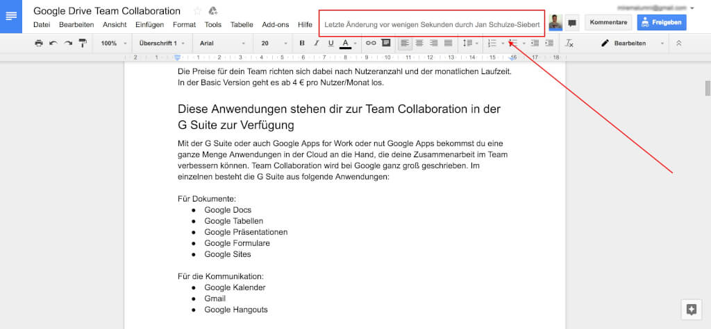 Google Drive Team Collaboration Versionierung Auto Speicherung