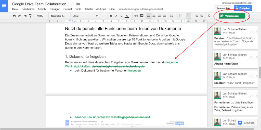 Google Drive Team Collaboration Vorschlagen Modus