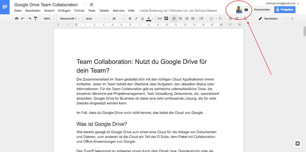 Google Drive Team Collaboration Wer ist aktiv