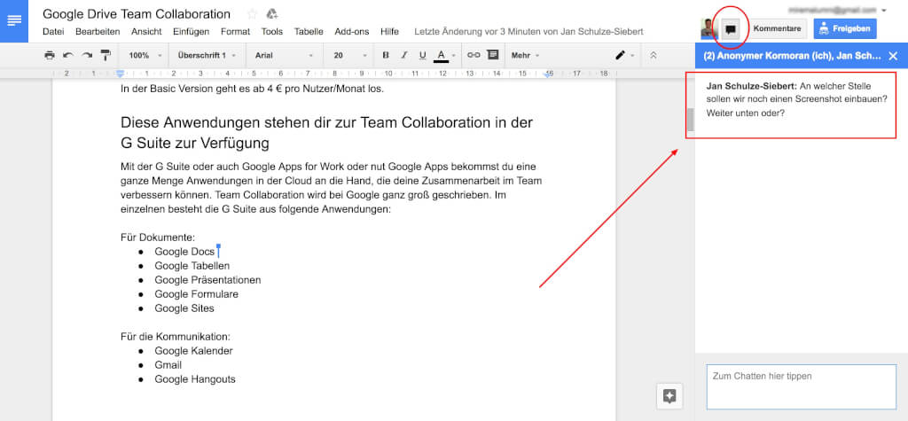 Google Drive Team Collaboration  Chat