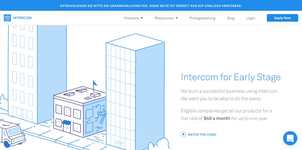 Intercom Early Stage Startup Unterstu  tzung