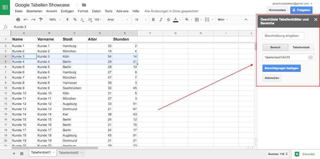 Google Tabellen Bereich schu  tzen