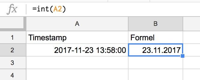 Google Tabellen Timestamp umwandeln