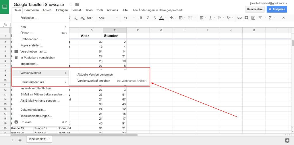 Google Tabellen Versionsverlauf