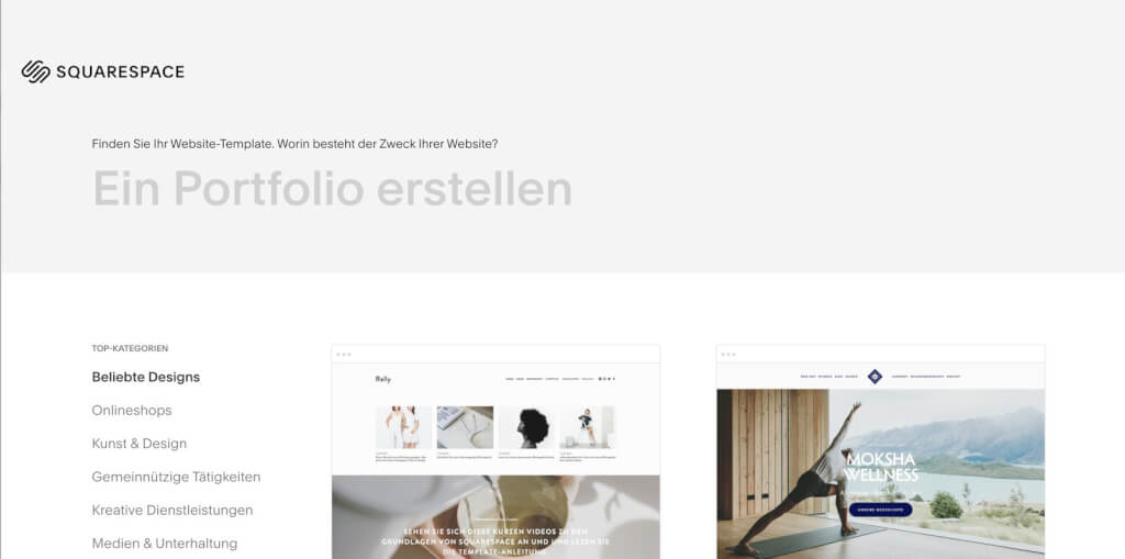 Squarespace Homepage Baukasten: Einfacher Einstieg, aber im Vergleich eher hinten dran