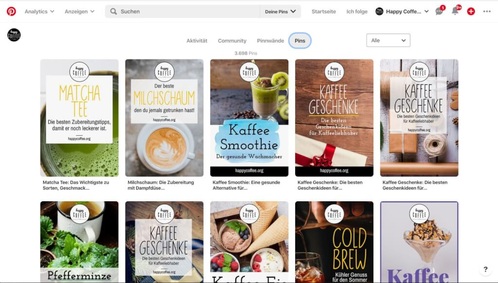 pinterest happy coffee marketing