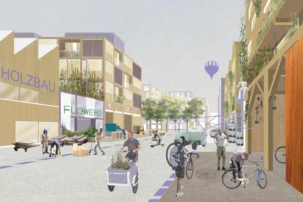 Freiraum in der Maker City mit Aneignungsflächen für Bewohner und Gewerbe