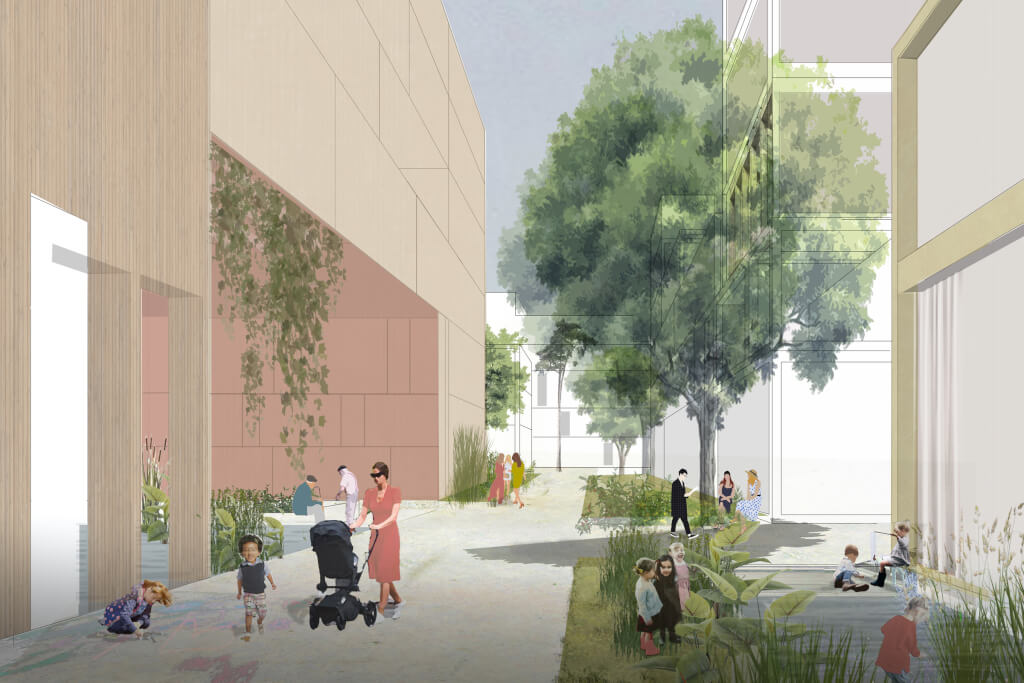 Wohnstraße (Visualisierung: asp Architekten GmbH/Koeber Landschaftsarchitektur GmbH)
