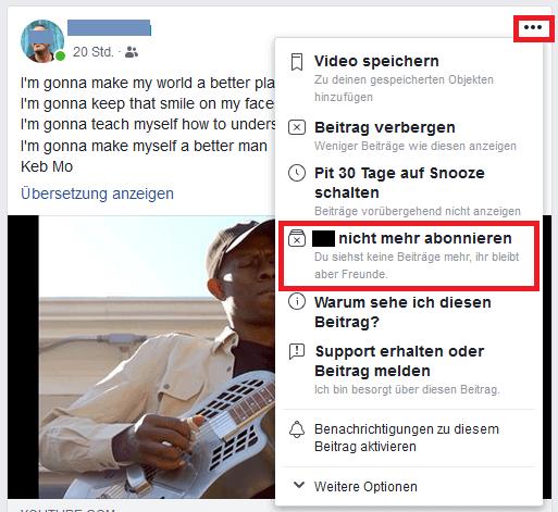 Facebook Freund nicht mehr abonnieren 1