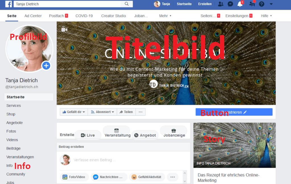 Facebook Seite einrichten beschriftet tiny