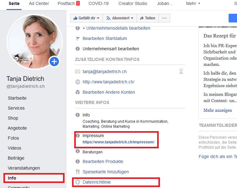 Facebookseite Impressum 1