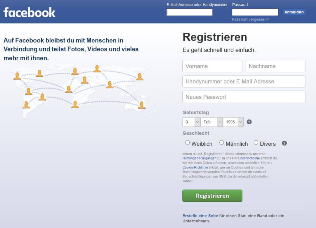 auf facebook registrieren ps