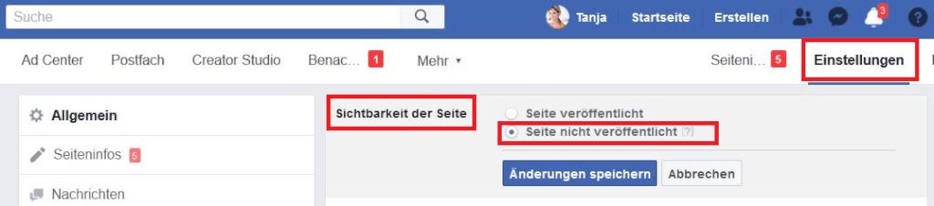 veroeffentlichung facebookseite zuruecknehmen 1