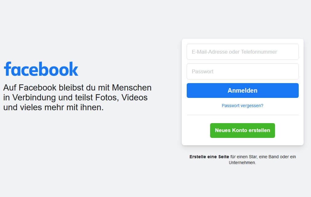 auf Facebook registrieren