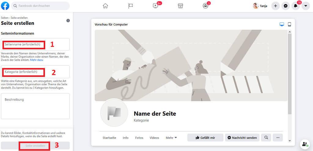 facebook seite erstellen Schritt 2