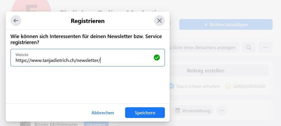 Facebook Button fuer Newsletter registrieren