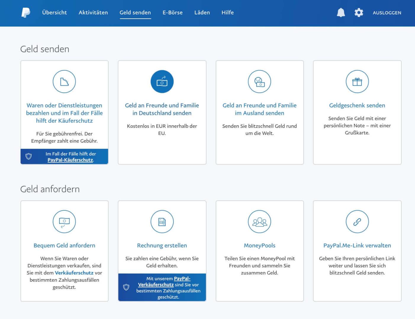 PayPal Geld senden anfordern Funktionen  1