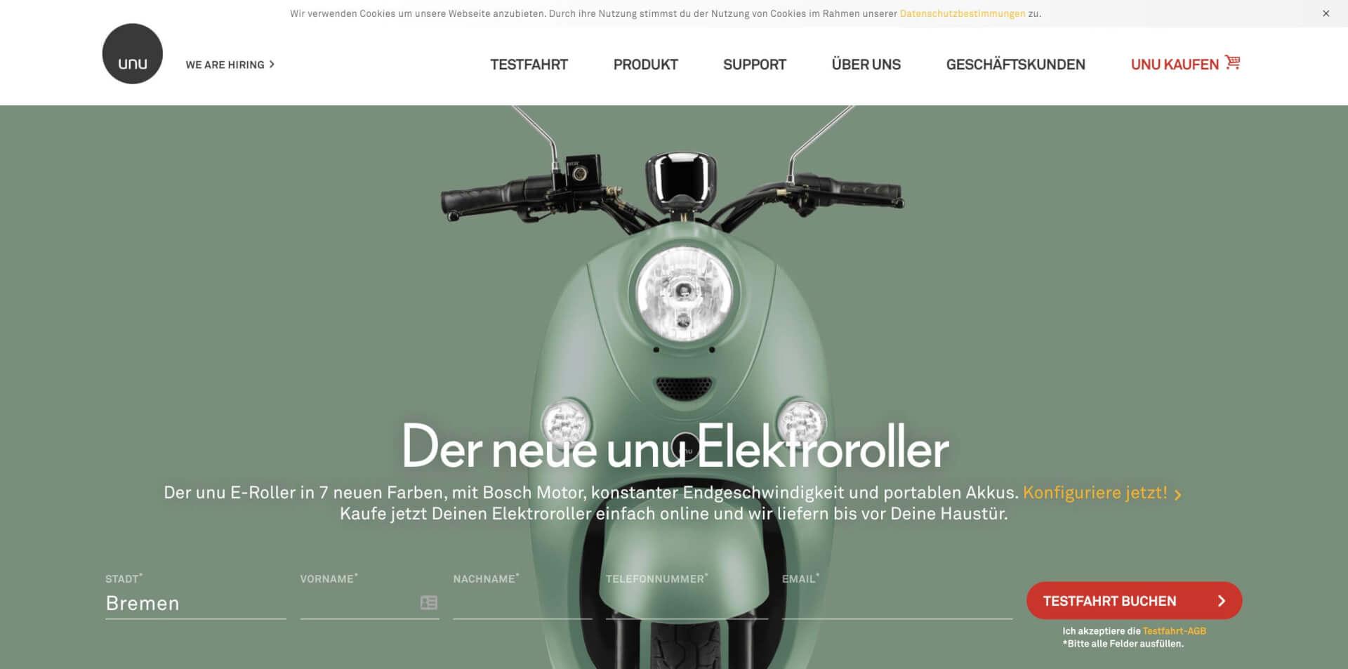 AppScooter E Roller unumotors Elektroroller Einfach Online Kaufen unu