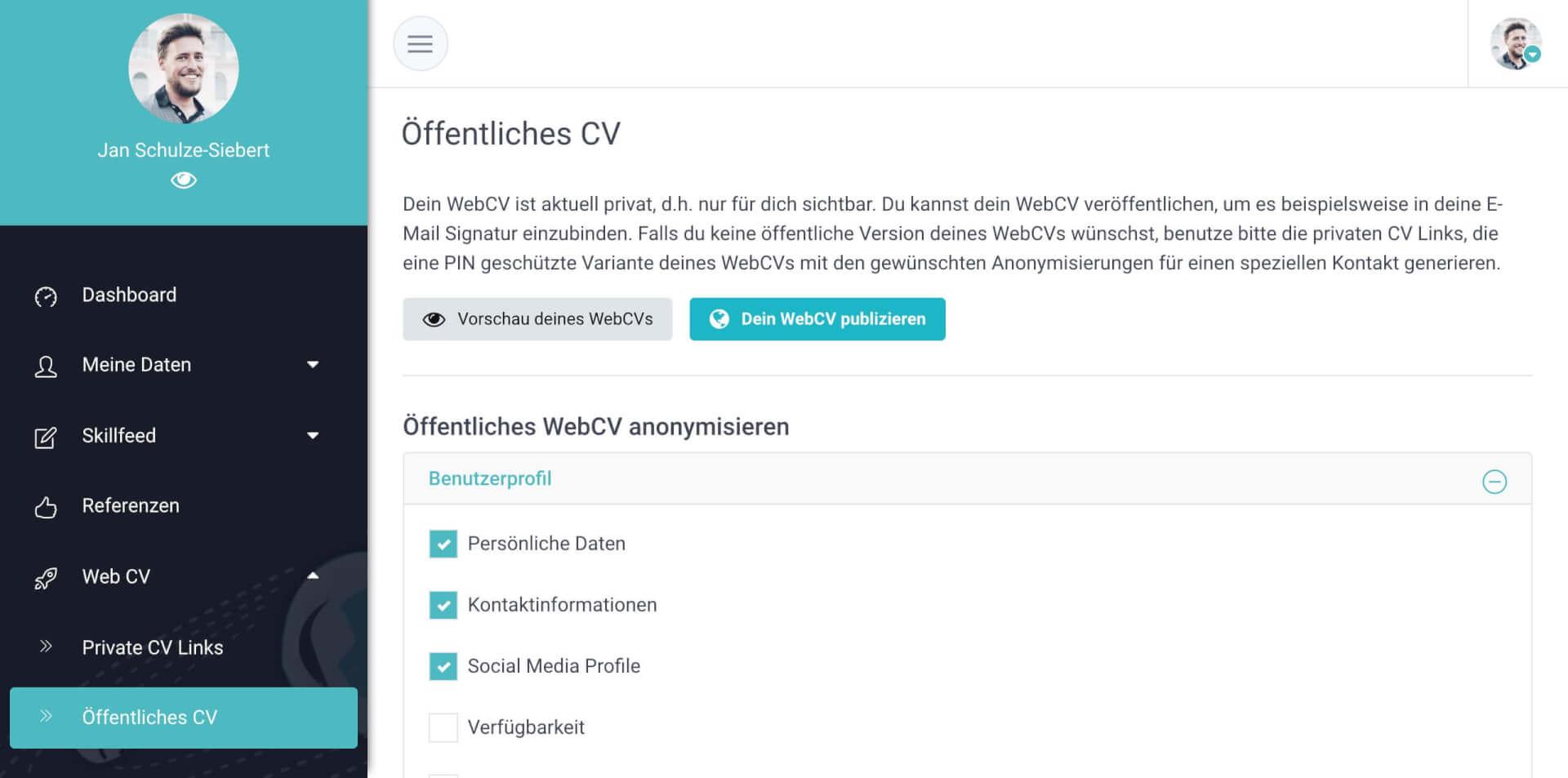 GravityCV Web CV erstellen 1