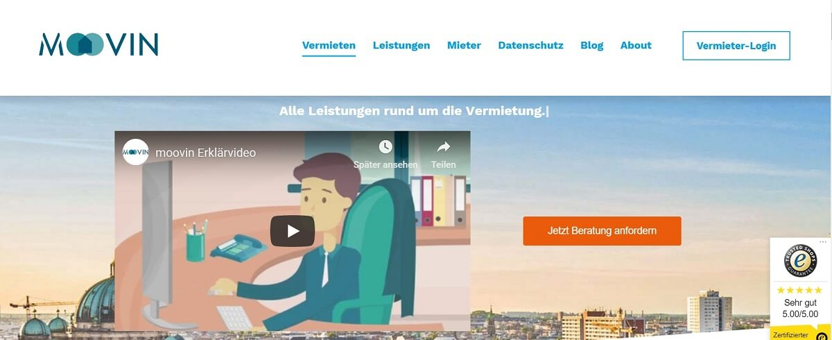 Vermietung digitalisieren Webseite moovin