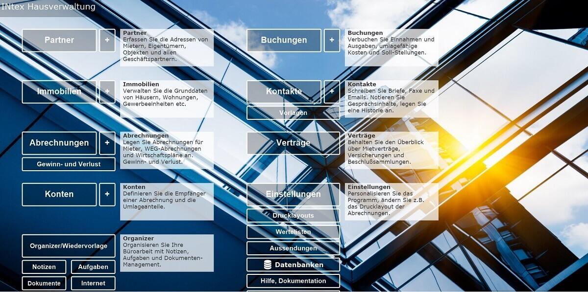 Online Hausverwaltung INtex Eingangsbildschirm