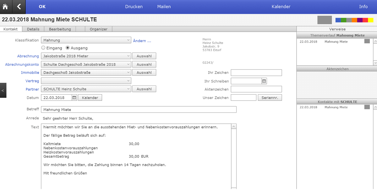 Online Hausverwaltung INtex Miete Mahnung