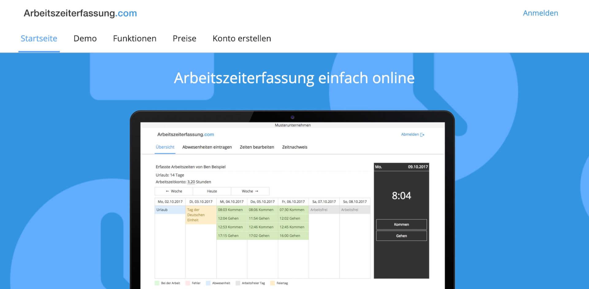 Arbeitszeiterfassung einfach online Arbeitszeiterfassung com 1