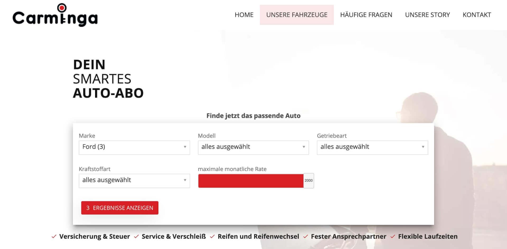 Carminga Auto Abo Startseite 1